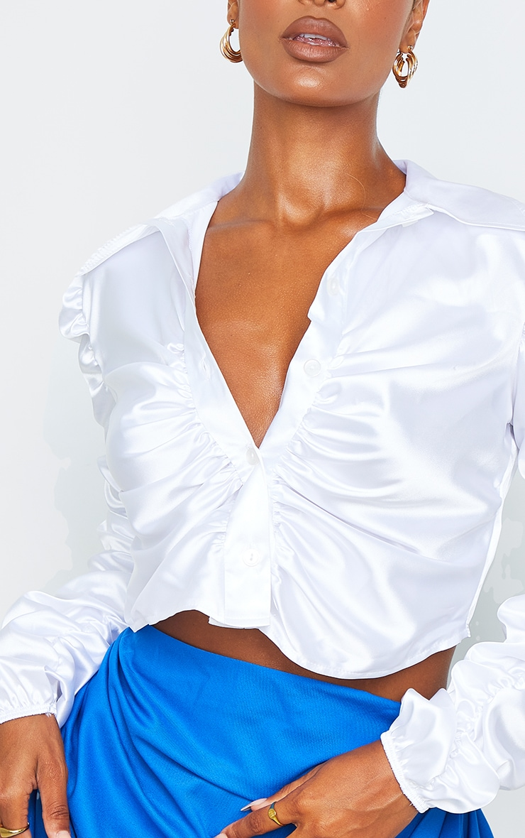 White Satin Ruched Cropped Shirt 4