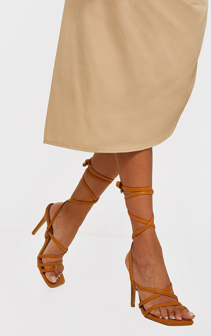 Sand Square Toe Strappy Lace Up High Heeled Sandals 1