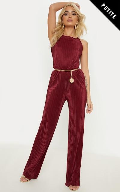 Petite Burgundy Plisse Tie Back Jumpsuit ddd5147b9