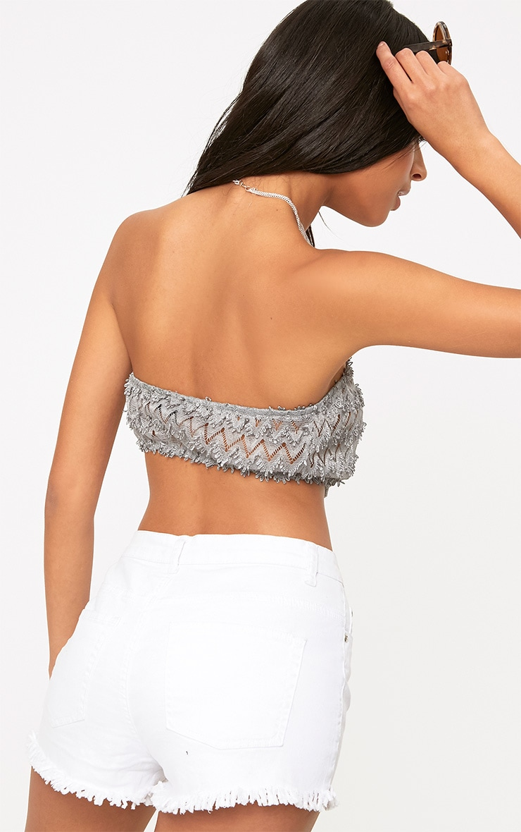 Grey Beachwear Crochet Detail Bandeau Crop Top  2