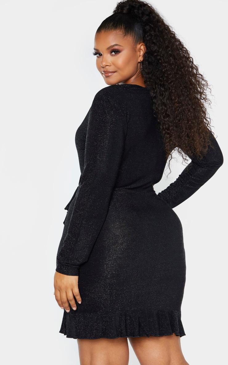 Plus Black Glitter Wrap Frill Dress 2