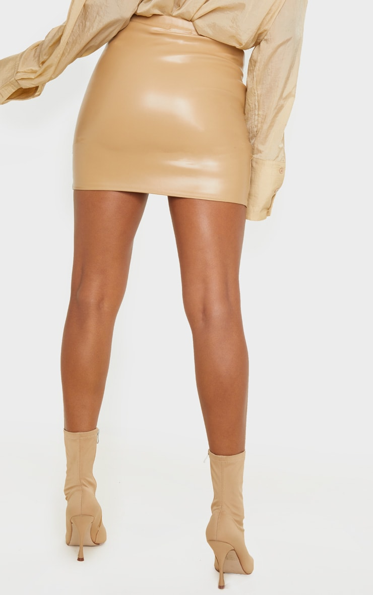 Camel Faux Leather Ruched Wrap Skirt 4