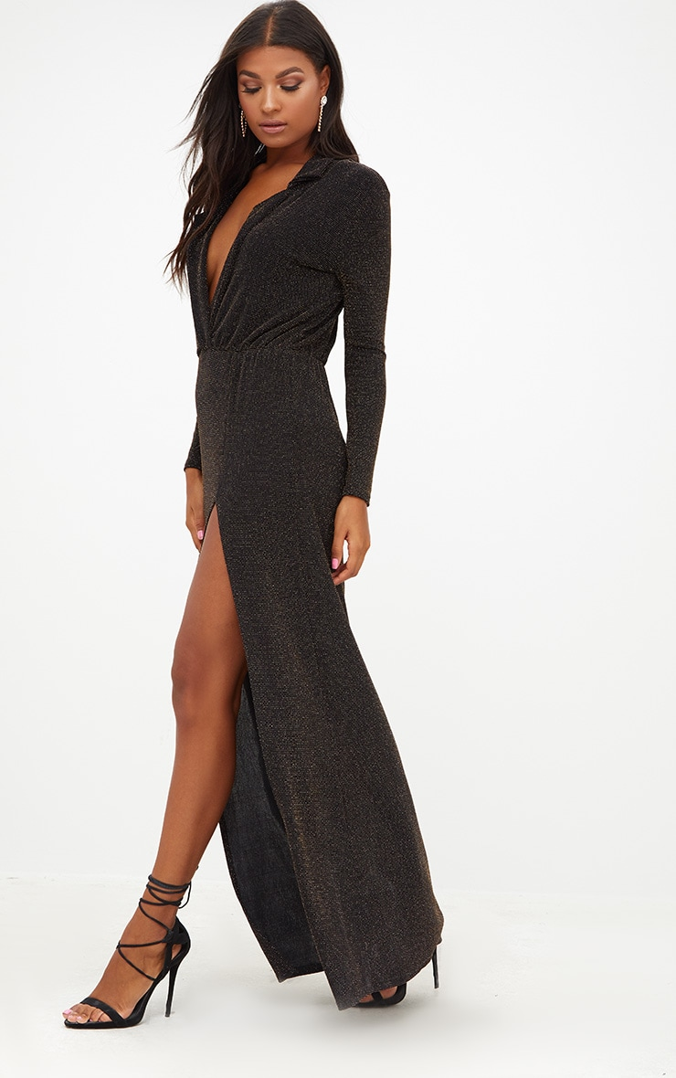 Black Lurex Plunge Long Sleeved Maxi Dress 4