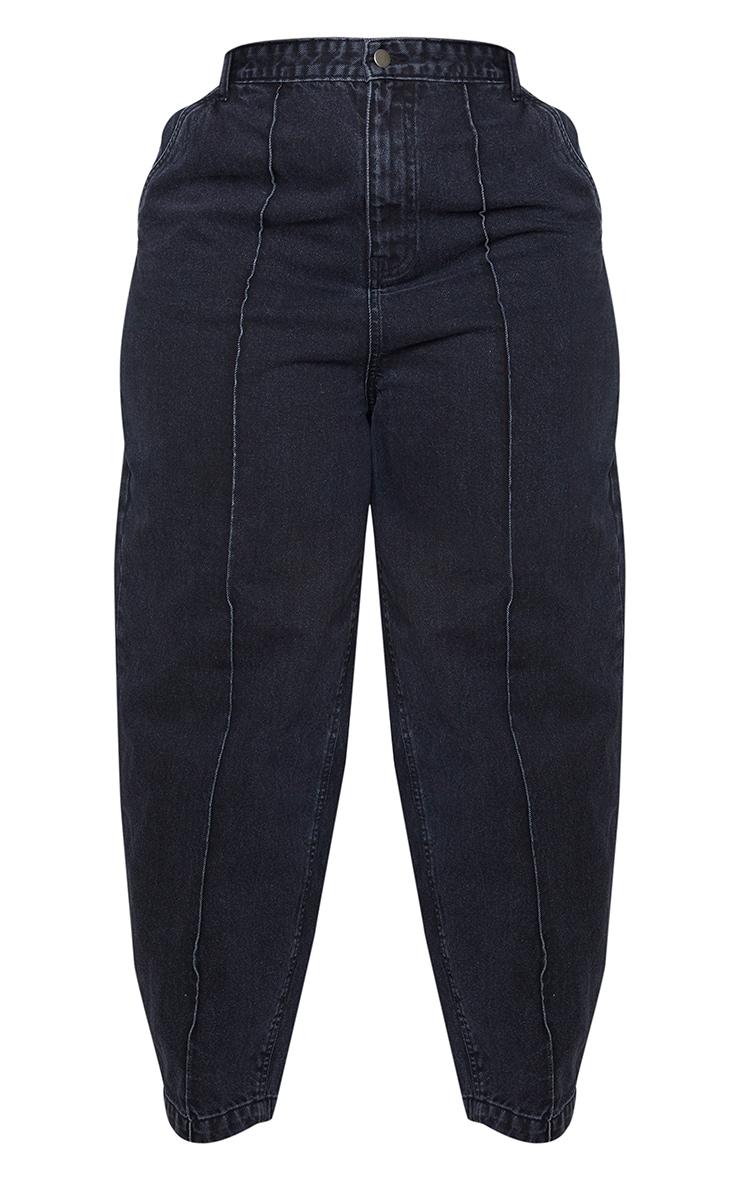 Plus Black Seam Detail Balloon Jeans 5