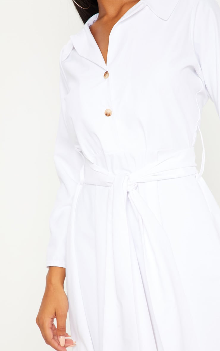 White Tortoise Shell Button Front Shirt Dress 5