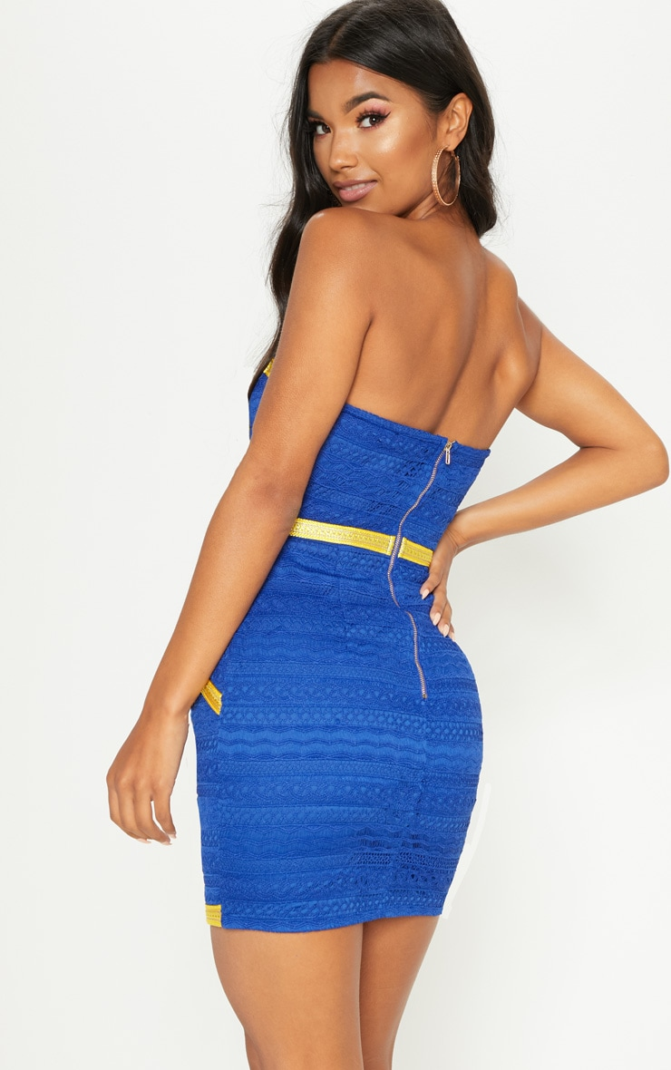 Cobalt Bandeau Lace Trim Detail Bodycon Dress 2