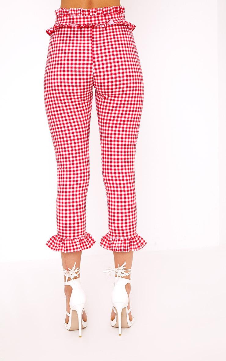 Keren Red Gingham Frill Trim Trousers 4