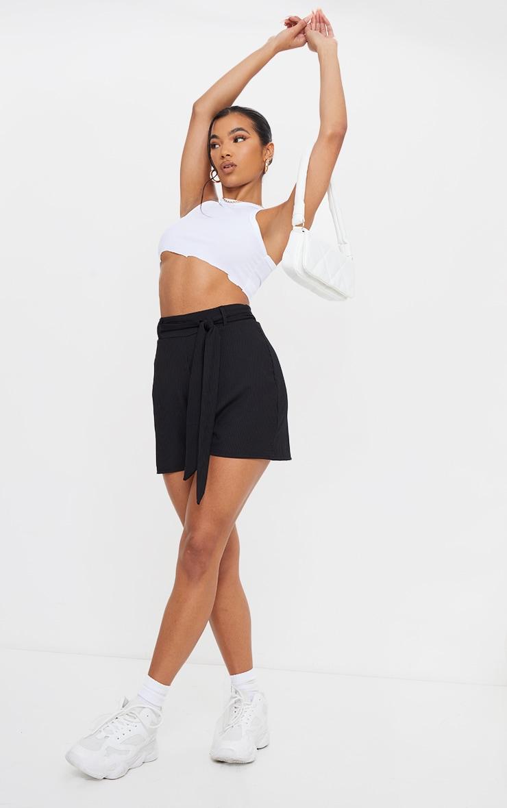 Black Belted Rib Floaty Shorts 1