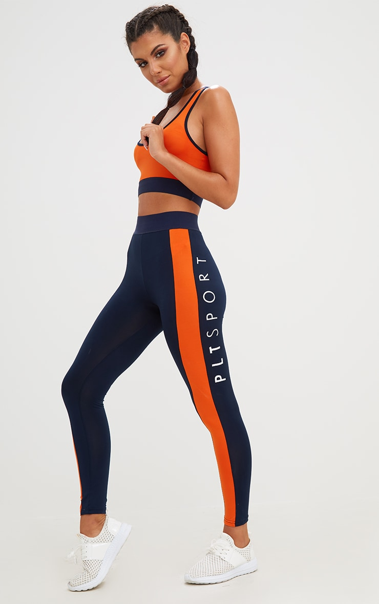 PLT Navy Contrast Gym Leggings