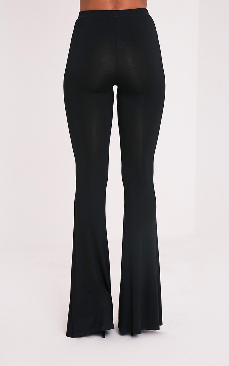 Basic Black Jersey Flared Trousers 5