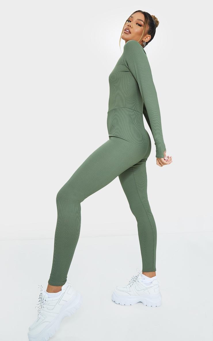 Khaki  Rib Long Sleeve Thumb Hole Jumpsuit 3