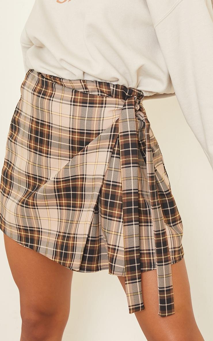 Brown Woven Check Wrap Skater Skirt 5