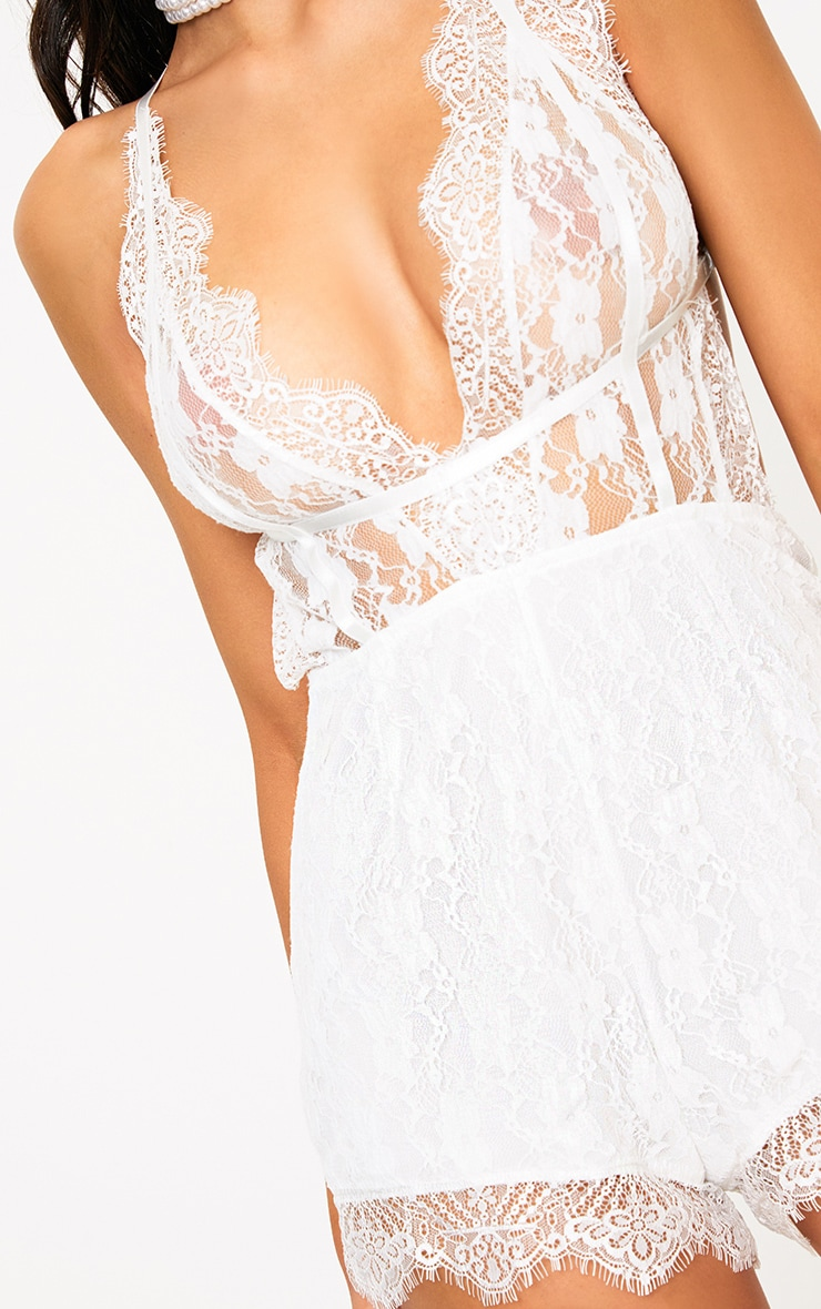 White Lace Harness Playsuit 5