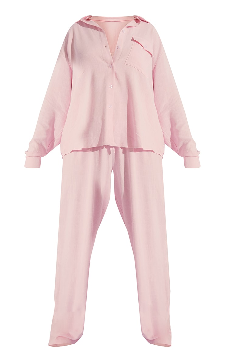 Pale Pink Oversized Long Sleeve Shirt With Pocket And Wide Leg Pants PJ Set 5