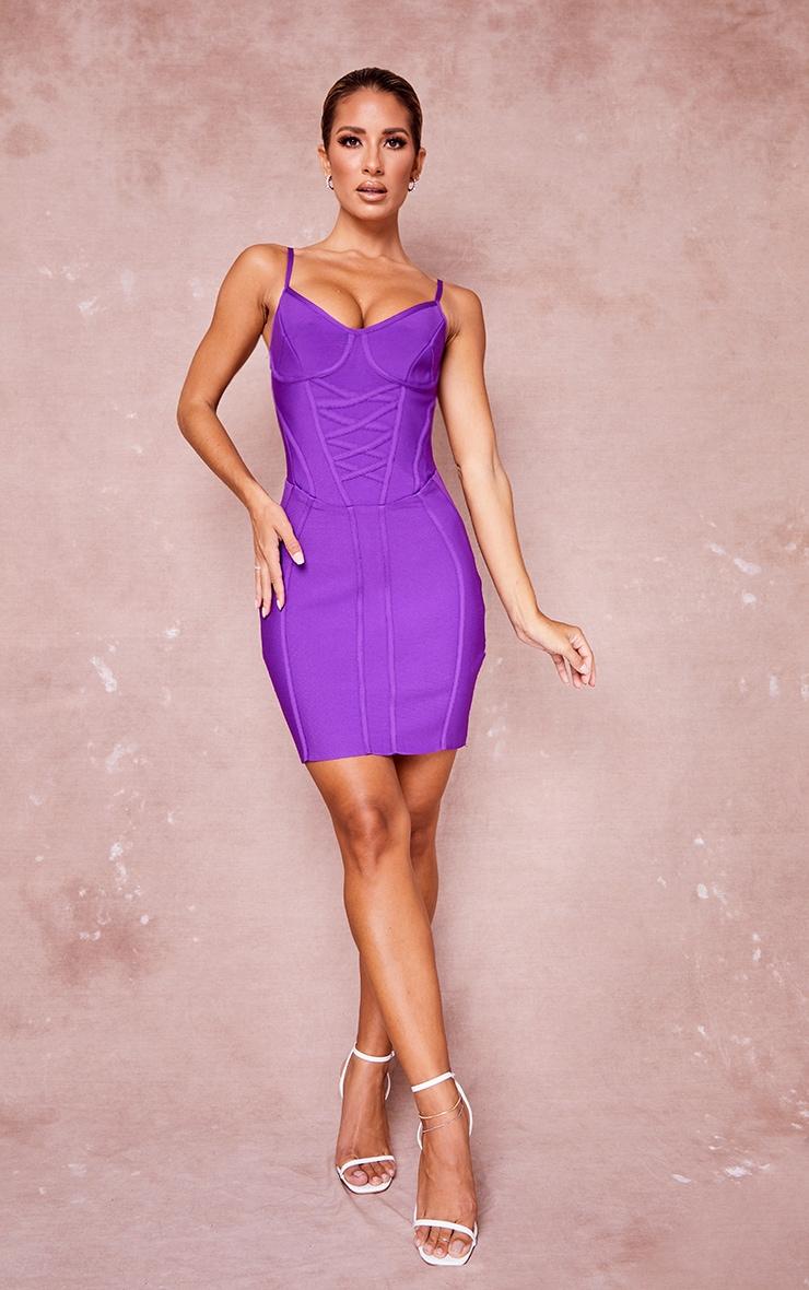 Purple Bandage Lace Up Corset Detail Strappy Bodycon Dress 2