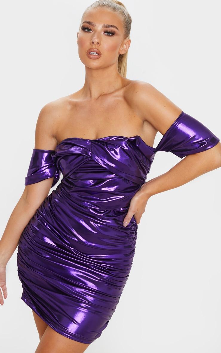 Purple Metallic Ruched Bardot Bodycon Dress 1