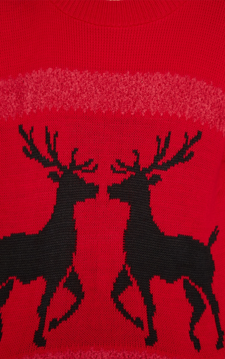 Nicola Red & Black Reindeer Jumper-One Size 3