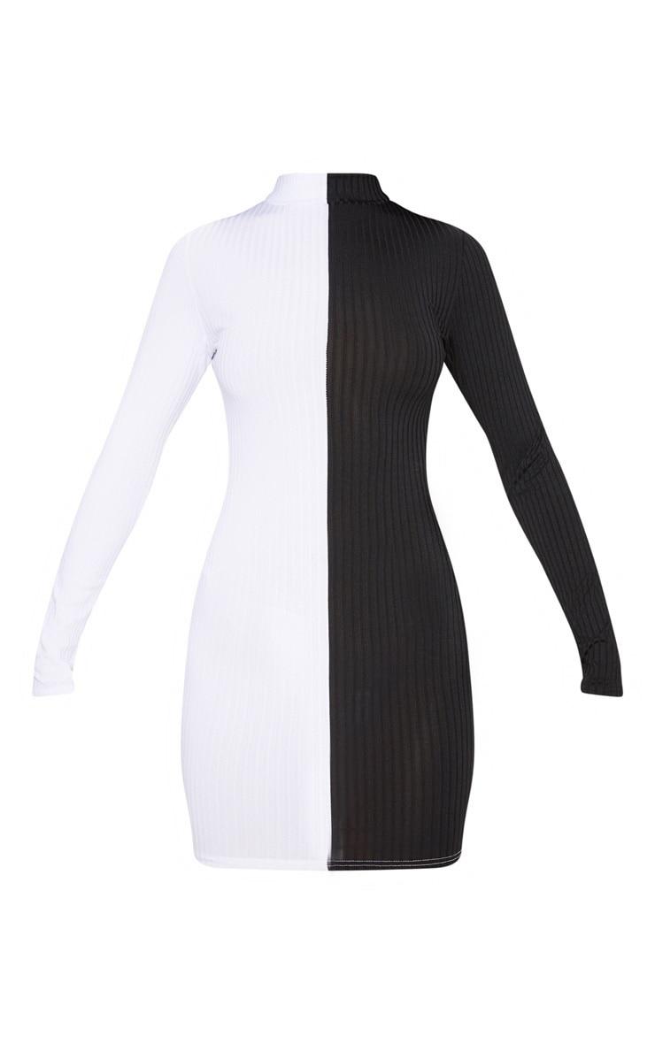 Monochrome High Neck Rib Long Sleeve Bodycon Dress 3