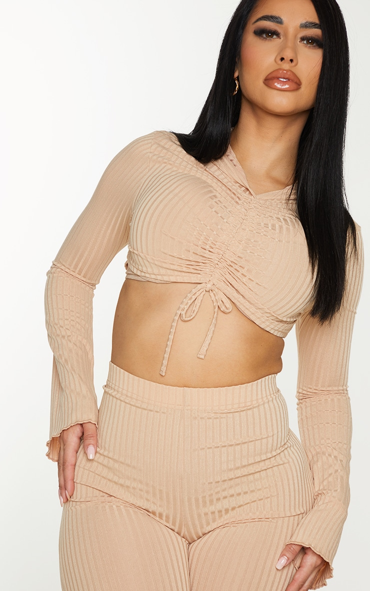 Shape Stone Rib Hooded Ruched Crop Top 4