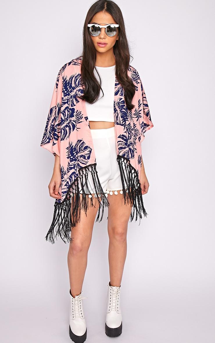 Maisie Pink Tropical Tassel Kimono  1