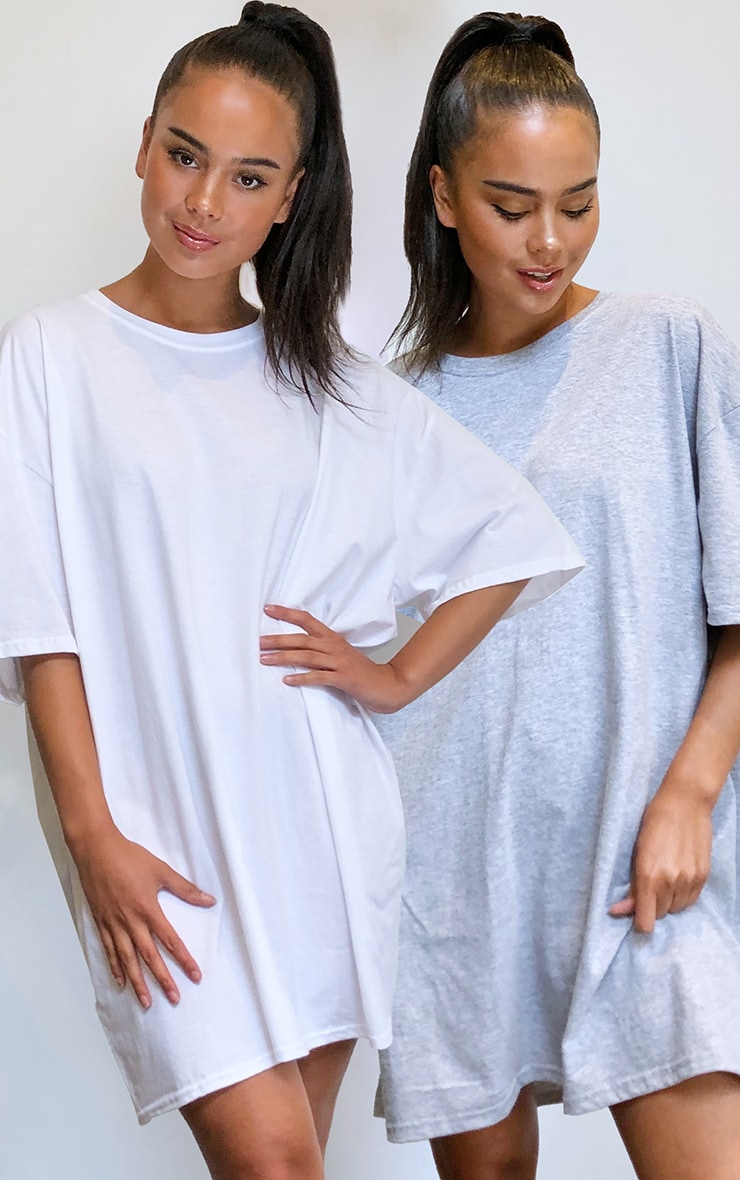 Grey & White 2 Pack T Shirt Dresses 1