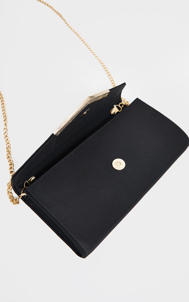Black Satin Clutch Bag 3