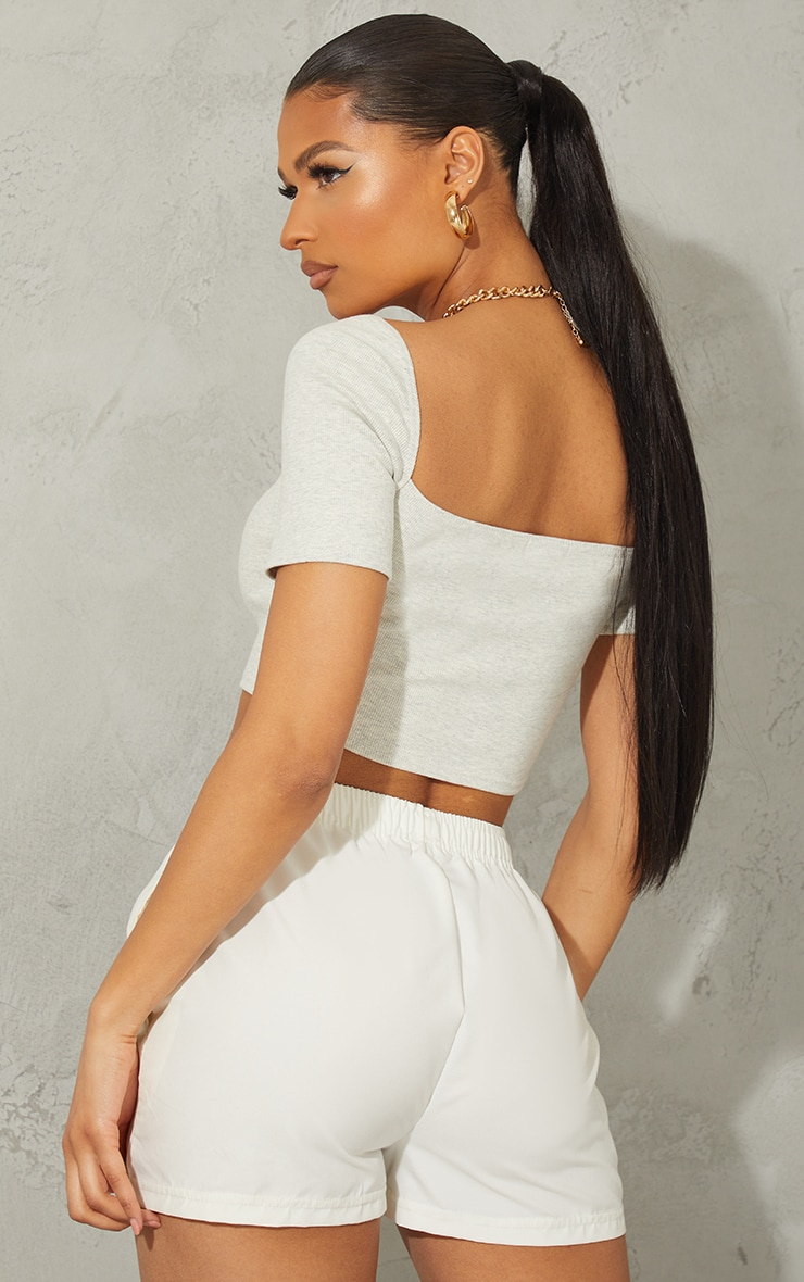 Oatmeal Rib Square Neck Bust Stitch Detail Crop Top 2