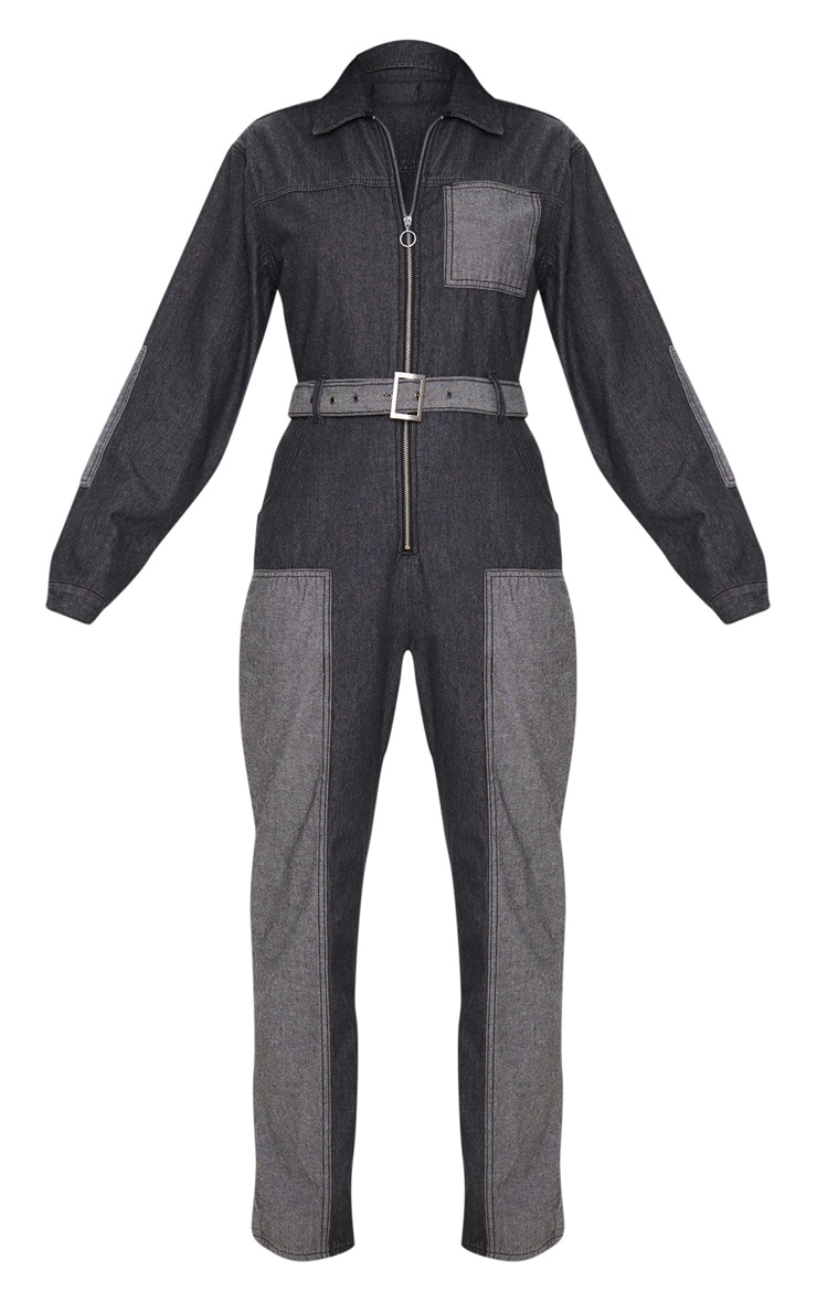 Charcoal Grey Two Tone Oversized Belted Denim Boilersuit 3