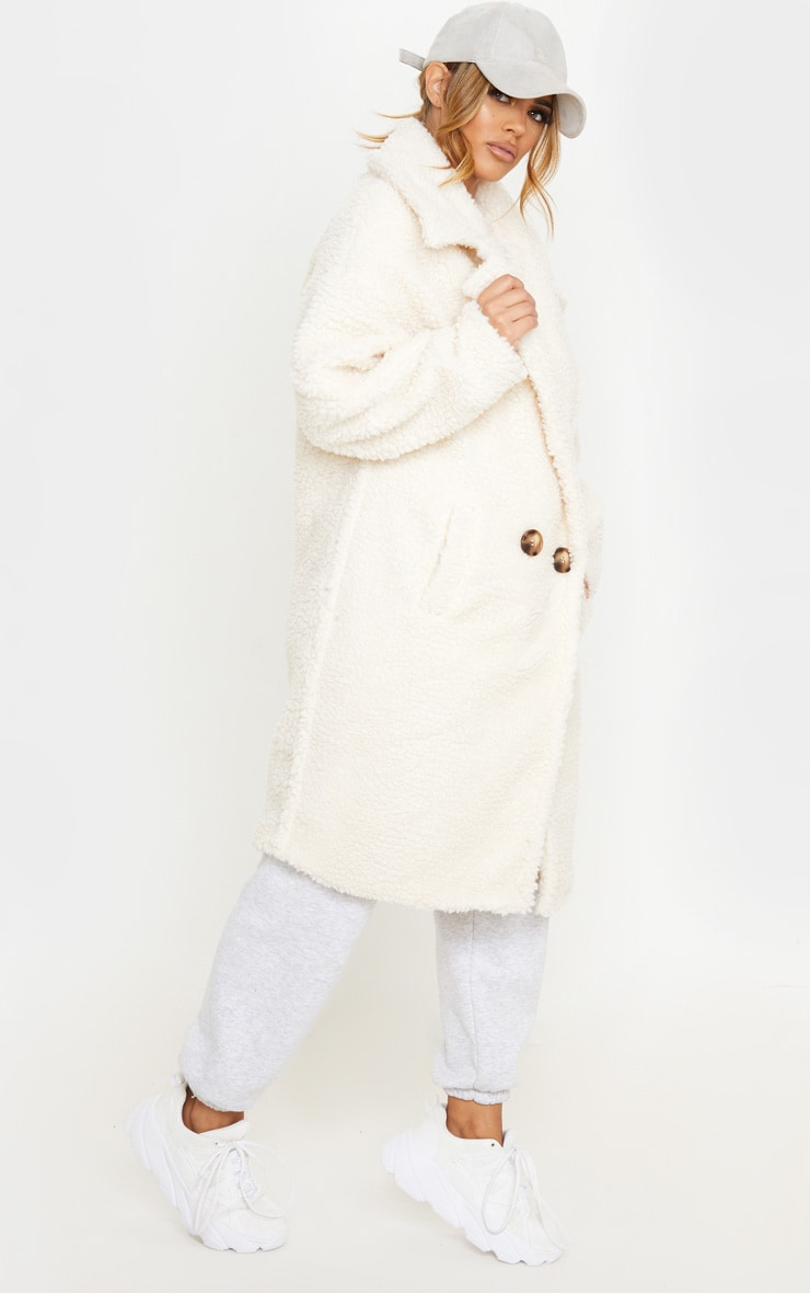 Petite Cream Borg Oversized Coat 4
