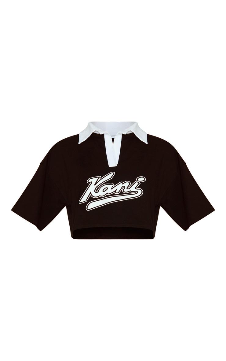 KARL KANI Black Crop Rugby T-Shirt 4