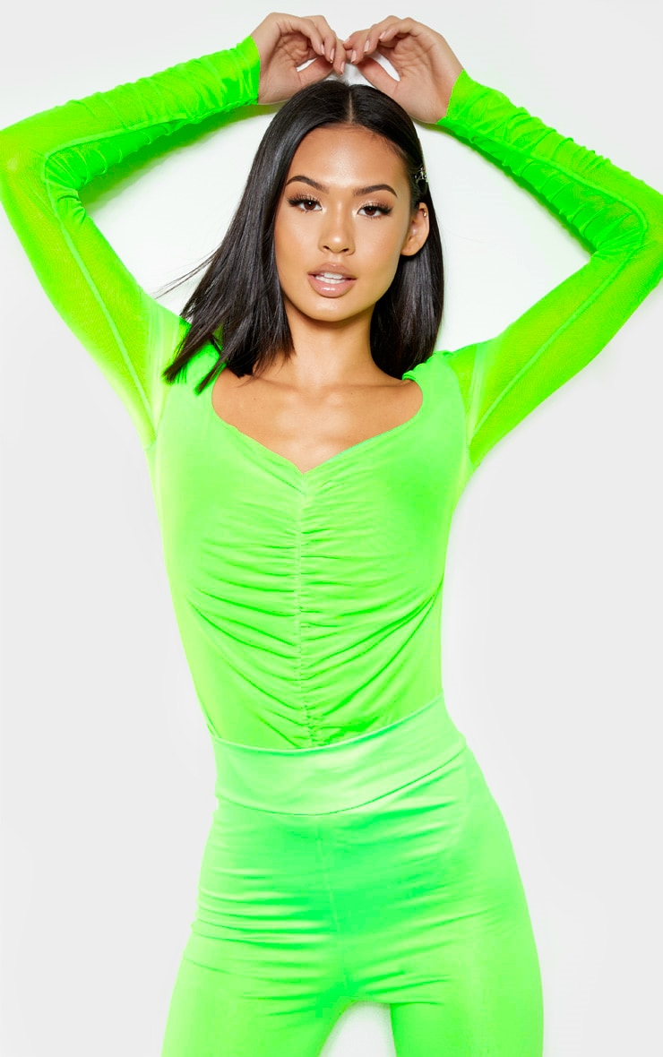 Neon Lime Mesh Ruched Detail Long Sleeve Bodysuit 2