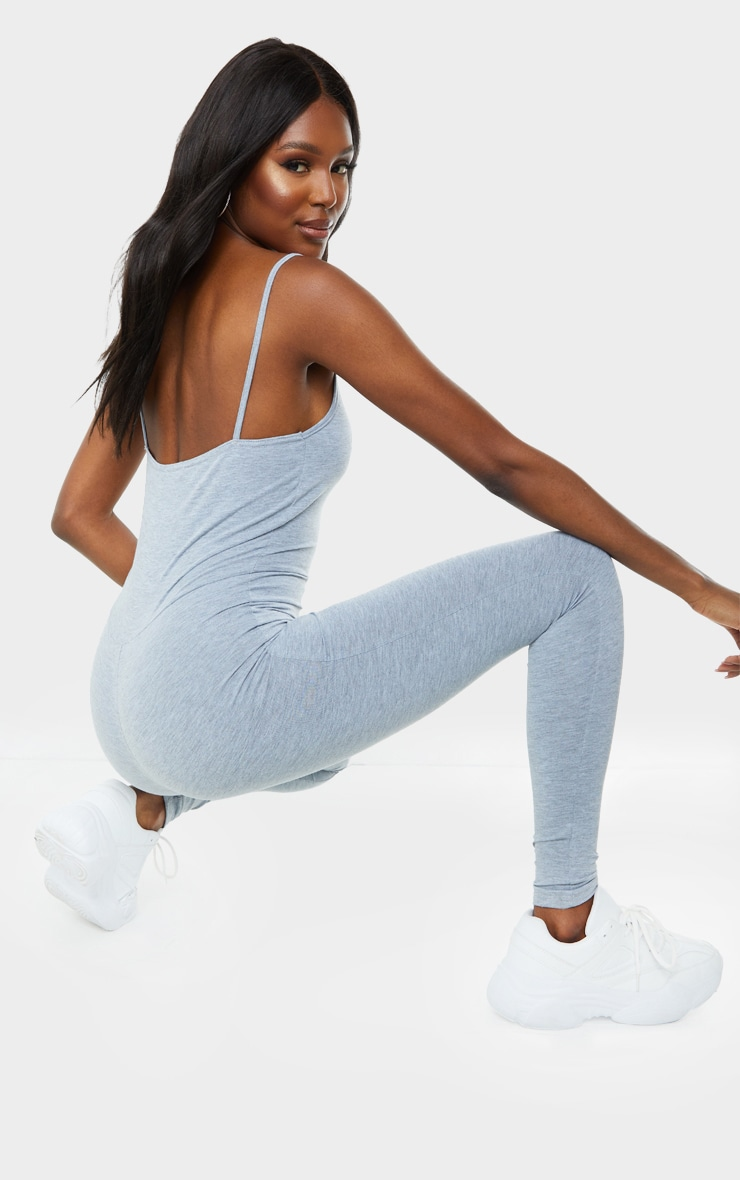 Tall Grey Marl Strappy Plunge Jumpsuit 2
