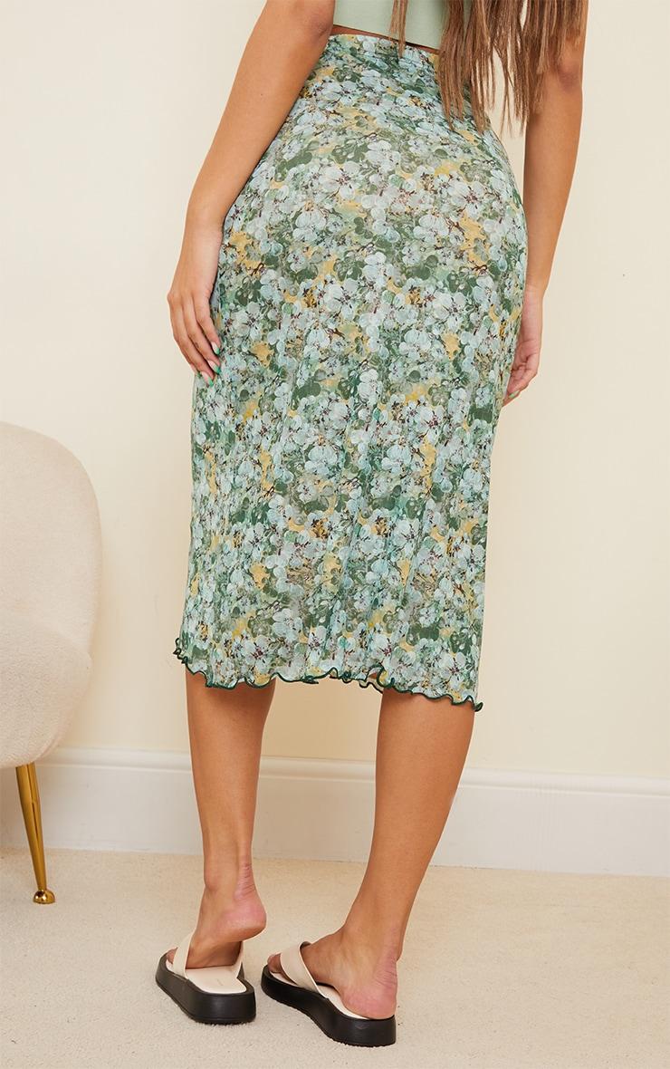 Green Floral Mesh Midi Skirt