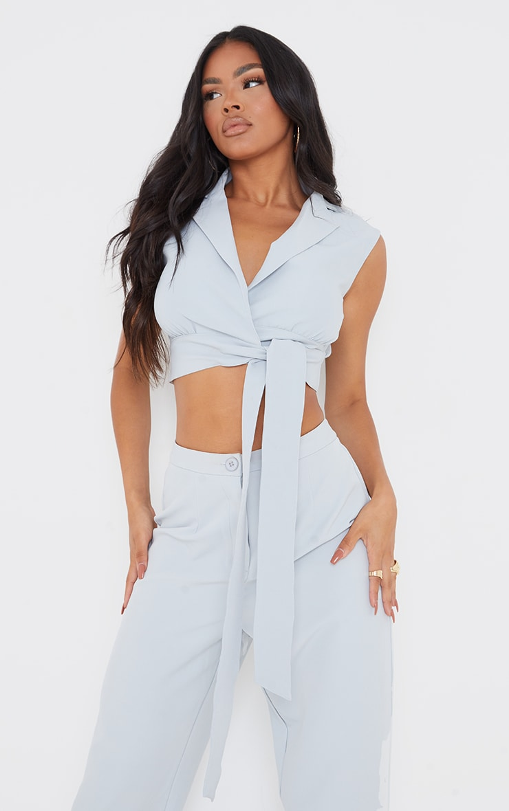 Light Grey Woven Tie Side Sleeveless Top 3