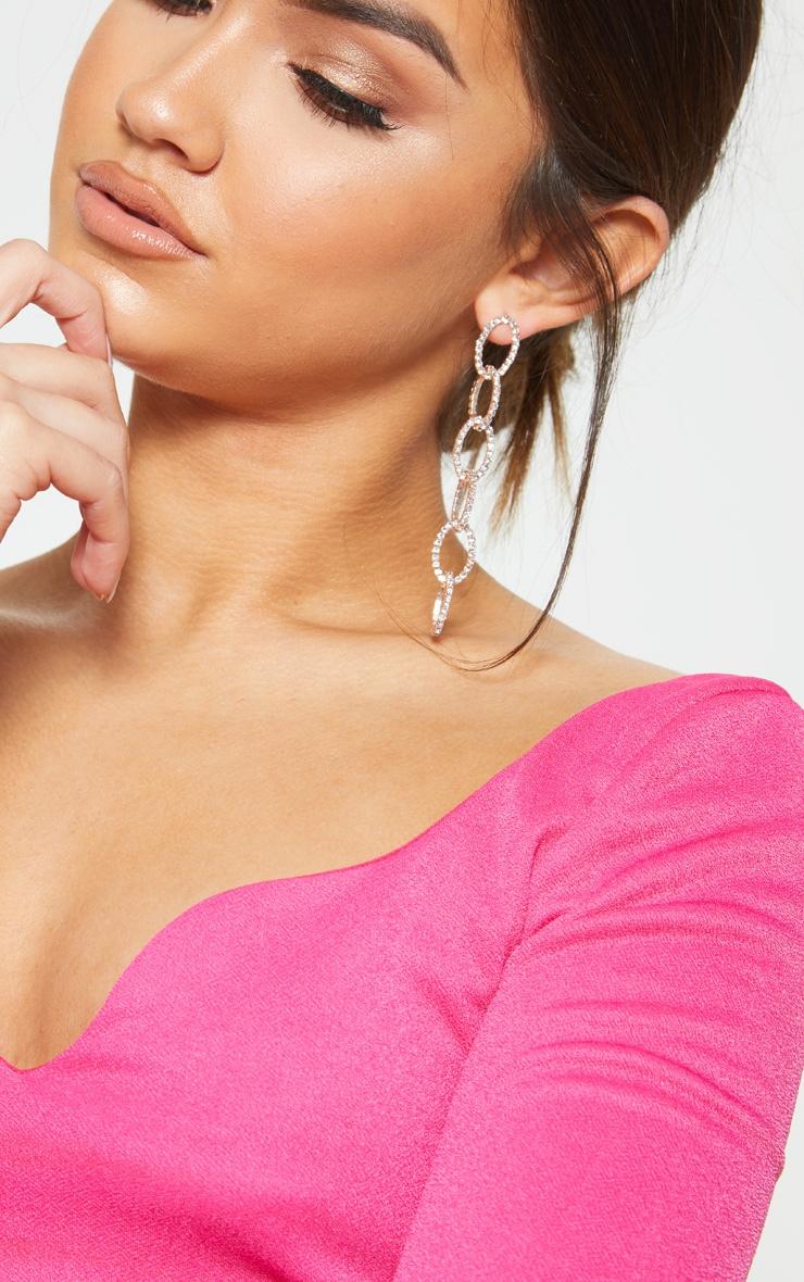 Gold Diamante Chain Links Drop Earrings 1