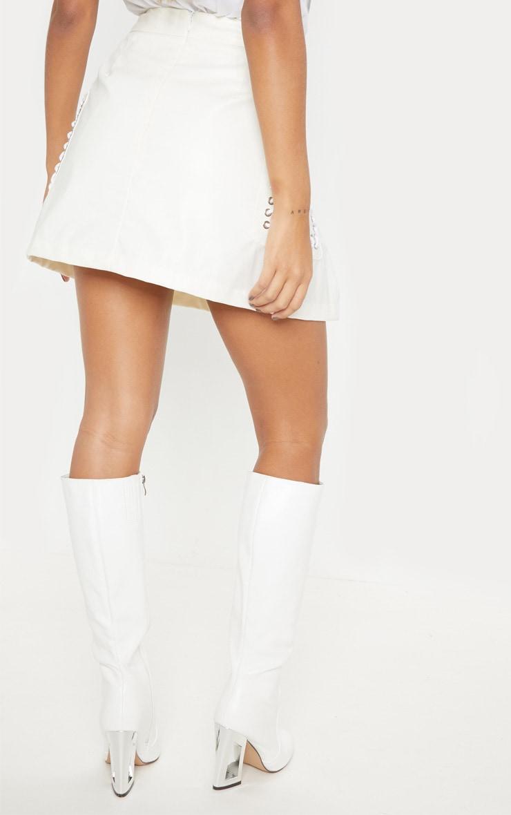 White Faux Leather Pocket Detail Mini Skirt 4