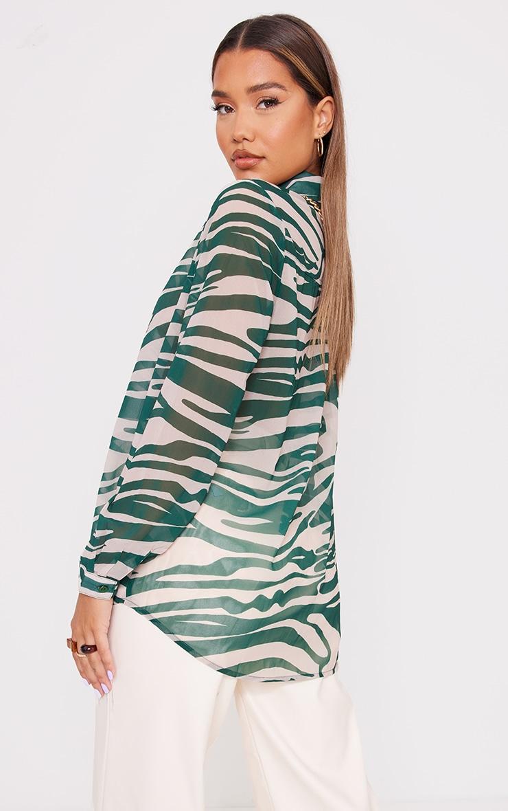 Khaki Zebra Print Chiffon Oversized Shirt 2