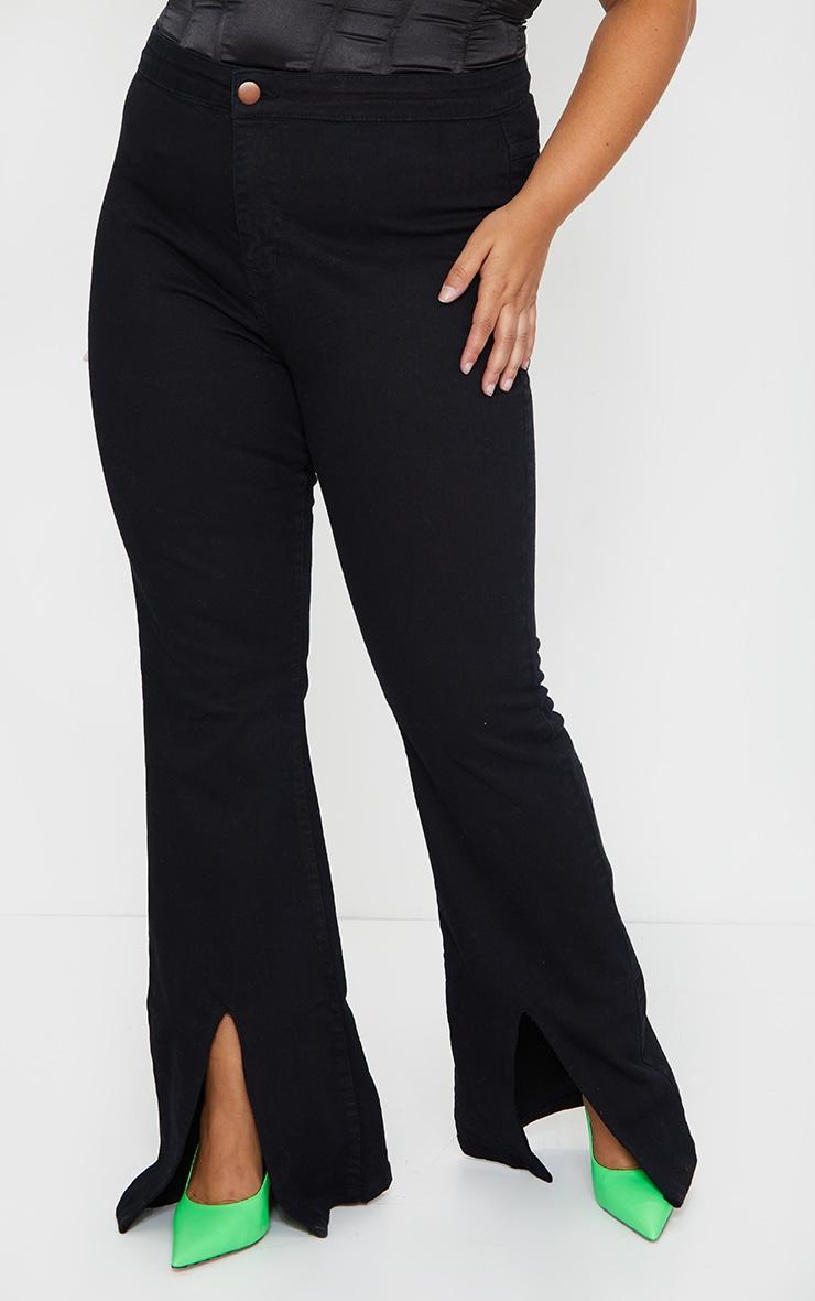 Plus Black High Waist Split Hem Flared Jeans 2