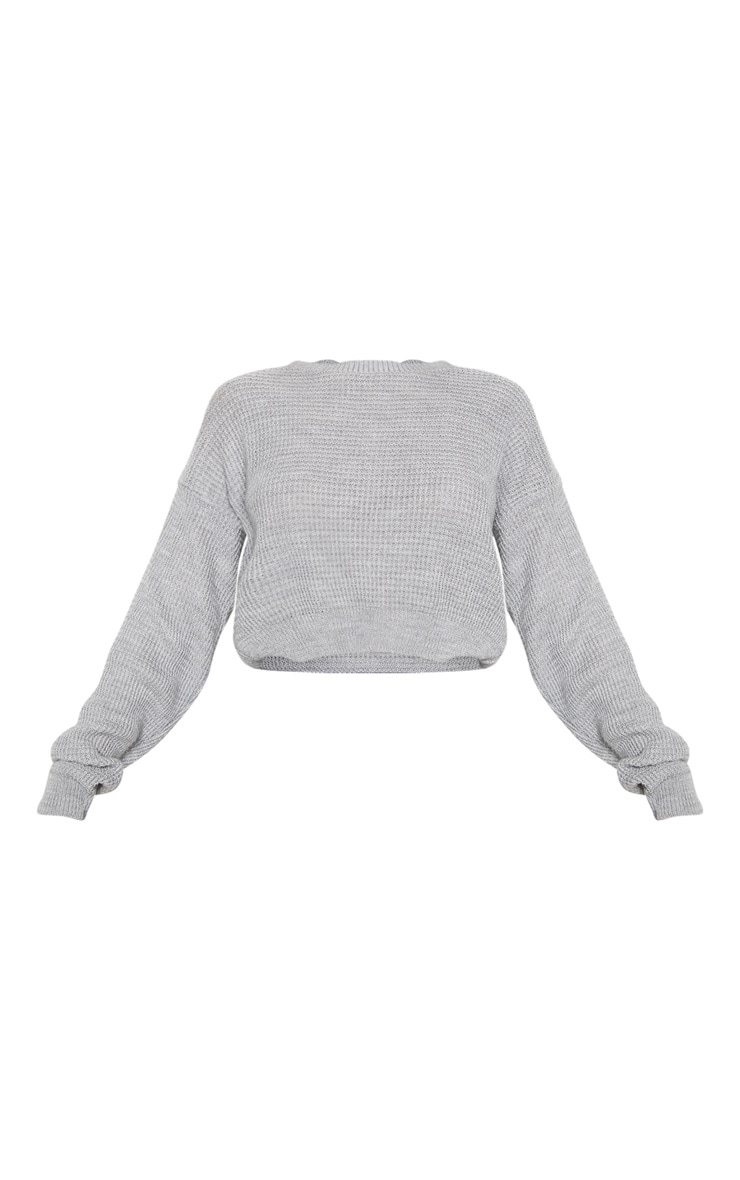 Grey Fisherman Knitted Cropped Jumper 3