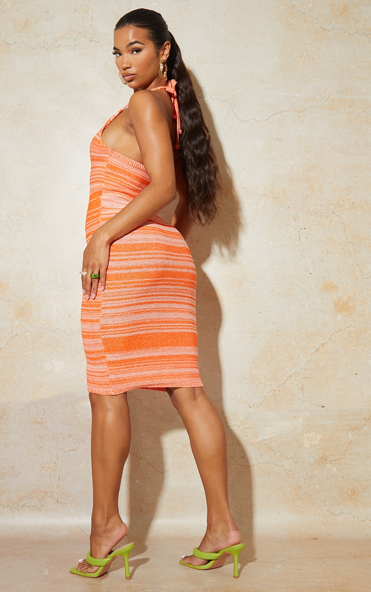 Orange Knitted Two Tone Halter Neck Midi Dress 2