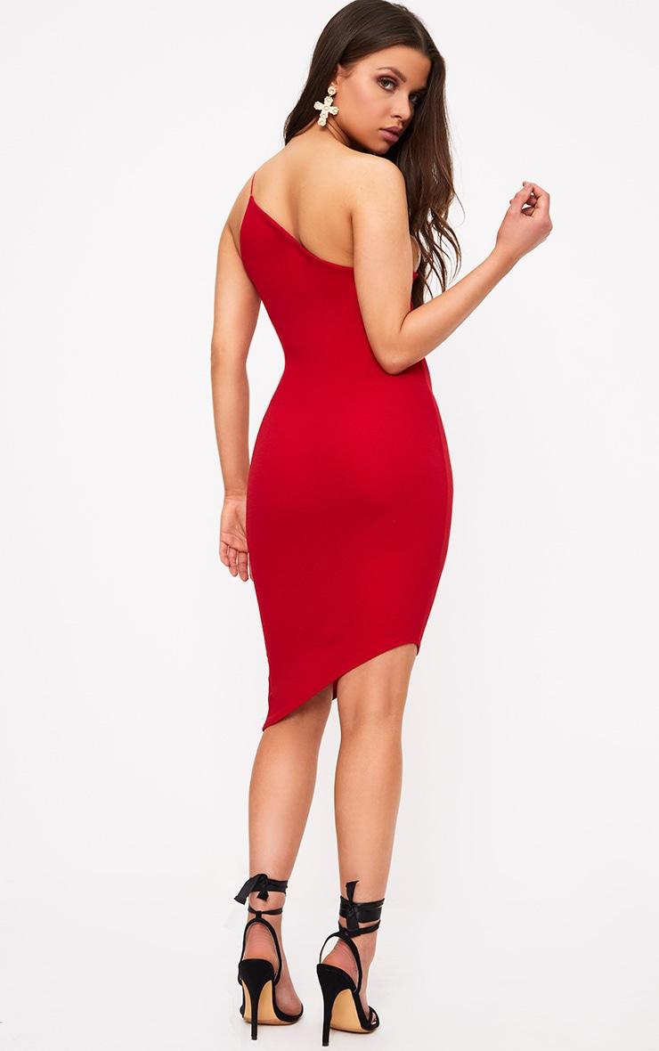 Red Asymmetric One Shoulder Bodycon Dress 2