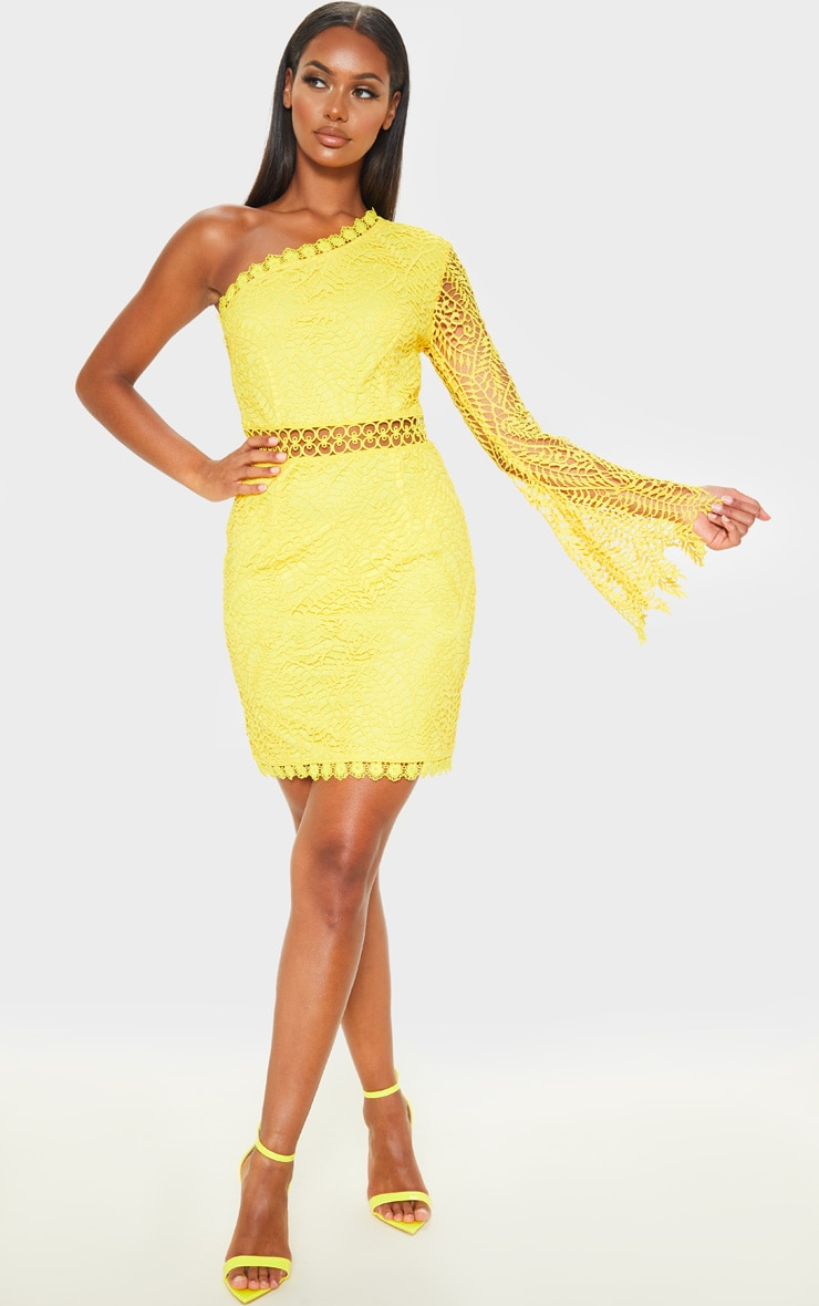 Bright Yellow One Shoulder Lace Bodycon Dress 4
