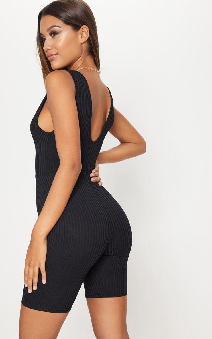 Black Ribbed Plunge Sleeveless Unitard 2