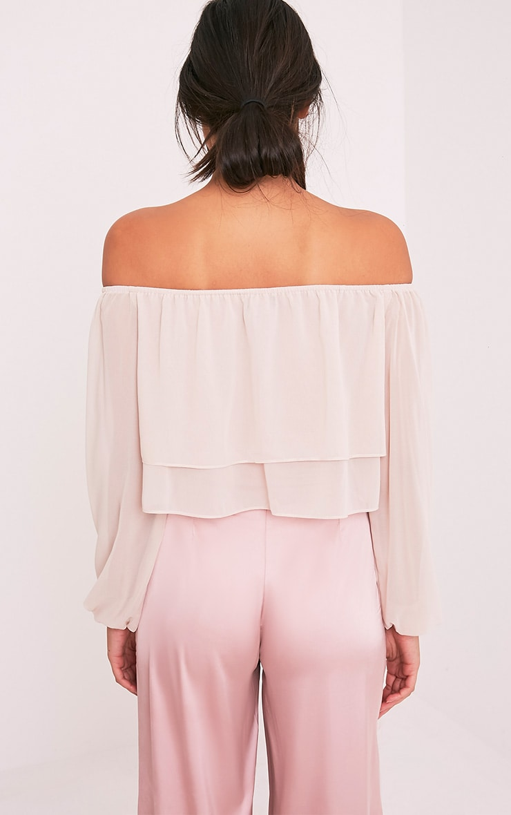 Lella Cream Ruffle Bardot Crop Top 2