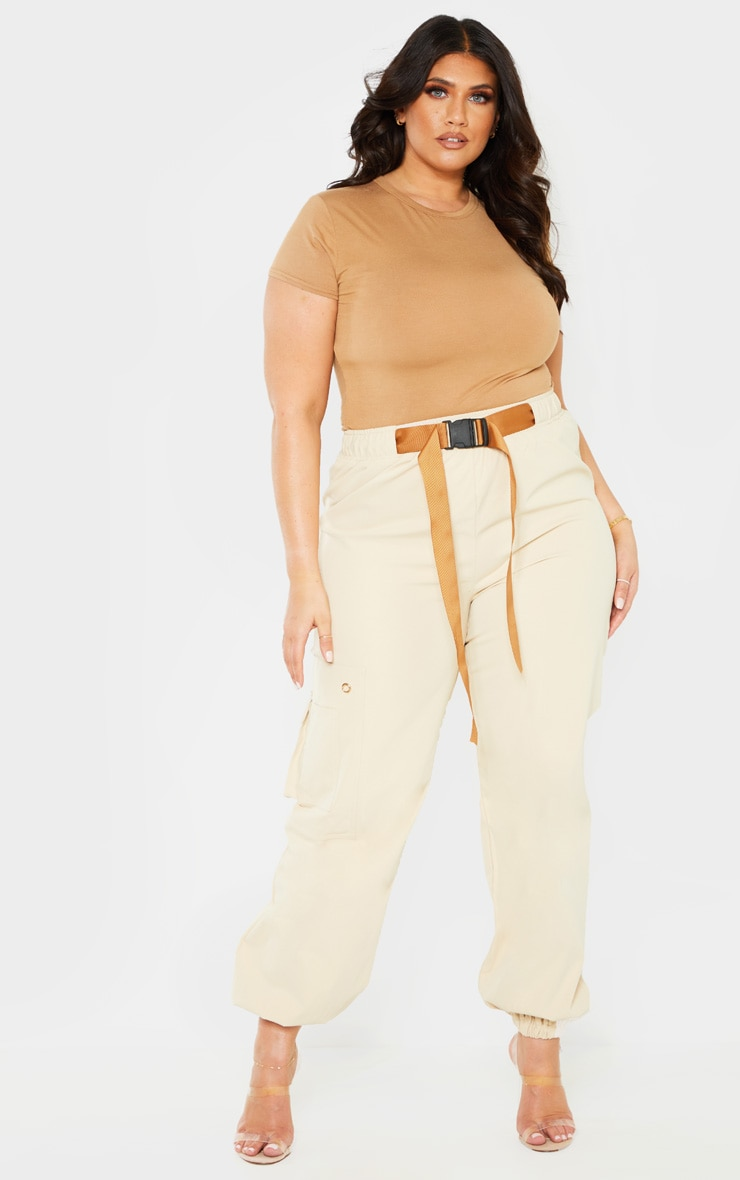 Plus Stone Woven Buckle Detail Cargo Trousers 1