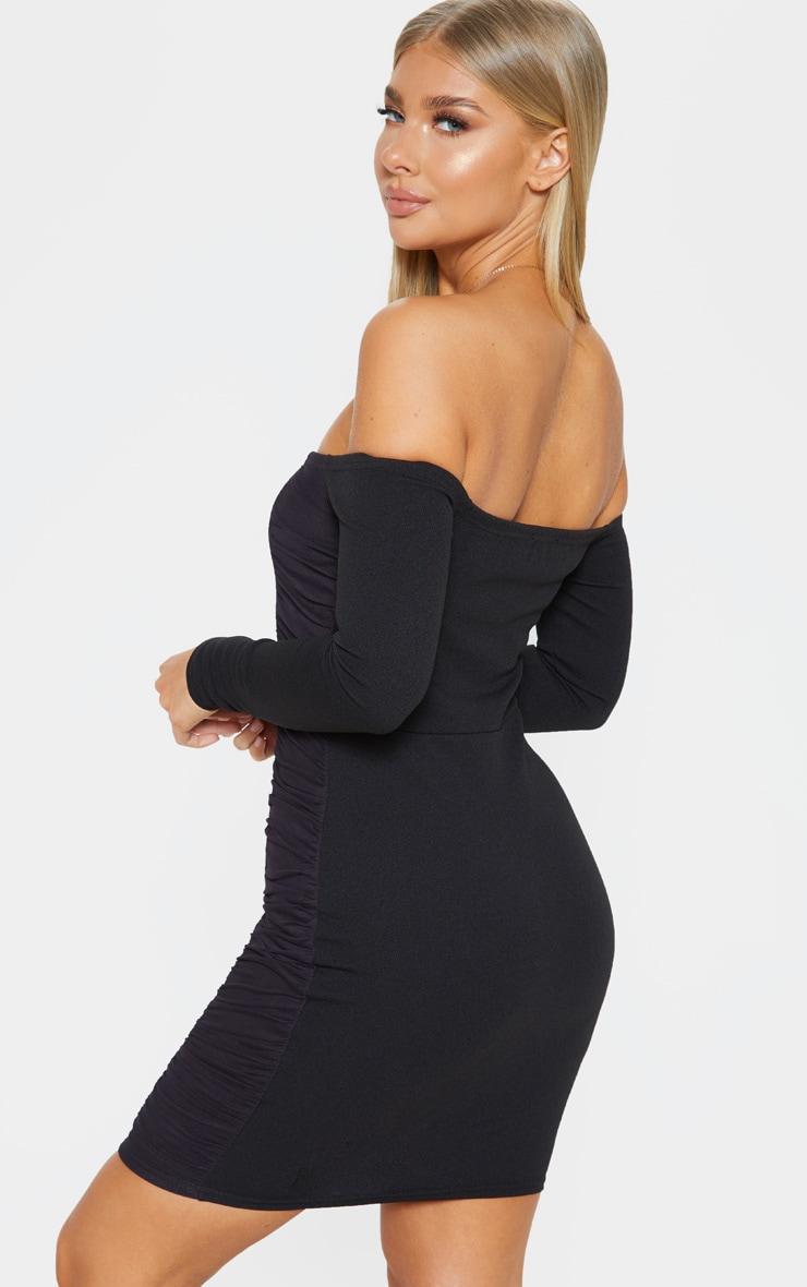 Black Bardot Ruched Side Panel Bodycon Dress 2