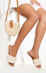 Nude Tassel Pom Pom Mule Sandal 1