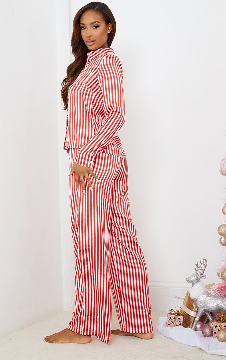 Red & White Stripe Satin Long Leg PJ Set 2