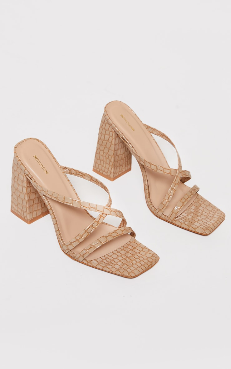 Nude Patent Pu Snake Flare High Block Heel Strappy Mules 3