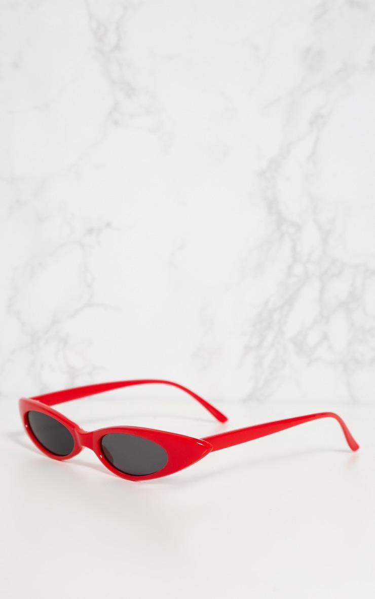 Red Matte Thin Retro Sunglasses 3